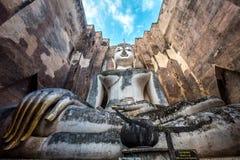 Ancient buddha image statue at Wat Sri Chum Sukhothai historical park Royalty Free Stock Images