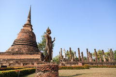 An ancient Buddha image at Sukhothai historical park Royalty Free Stock Photography