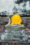Ancient buddha partly damage Royalty Free Stock Image