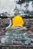 Ancient buddha partly damage Royalty Free Stock Image