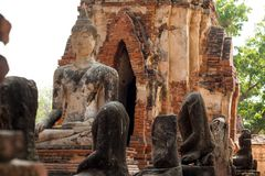 Ancient buddha statue in archaeological site at Wat Mahathat temple . old sculpture in history is a world heritage.  stock photography
