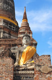Ancient buddha statue with blue sky Royalty Free Stock Images