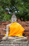 Ancient Buddha statue at Chaiwatthanaram Temple, Ayutthaya. Wat Yai Chaimongkol in ayutthaya province Thailand stock photo