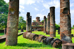 Ancient Buddha Statue Debris and Buddhist Temple Ruins of Wat Ton Chan in The Sukhothai Historical Park, Thailand Stock Image