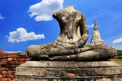Ancient buddha statue at historic site in Ayuttaya province,Thai Stock Photography