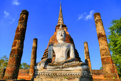 Ancient Buddha Statue inside The Historic Buddhist Temple Ruins of Wat Sa Si in The Sukhothai Historical Park, Thailand Royalty Free Stock Photos