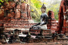 Ancient buddha statue at Mahathat temple, historic site in Ayutt Royalty Free Stock Photos