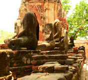 Ancient buddha statue at Mahathat temple, historic site in Ayuttaya province,Thailand. Royalty Free Stock Photography