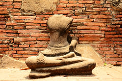 Ancient buddha statue at Mahathat temple, historic site in Ayuttaya province,Thailand. Royalty Free Stock Images