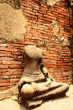 Ancient buddha statue at Mahathat temple, historic site in Ayuttaya province,Thailand. Royalty Free Stock Image