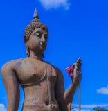 Ancient Buddha statue and pagoda Royalty Free Stock Image