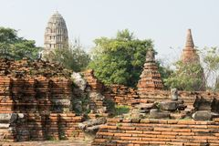 Ancient Buddha statue, pagoda and temple at Ayuthaya province, T. Hailand Royalty Free Stock Images