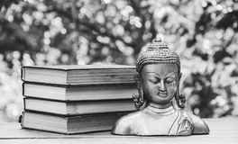 Ancient Buddha statue and a stack of books. Religion and culture. Monochrome Stock Photography
