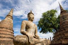 Ancient Buddha Statue at Sukhothai historical park, Mahathat Temple ,Thailand. Stock Photos