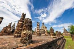 Ancient Buddha Statue at Sukhothai historical park, Mahathat Temple ,Thailand. Stock Image