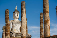 Ancient Buddha Statue at Sukhothai historical park, Mahathat Temple ,Thailand. Stock Photography