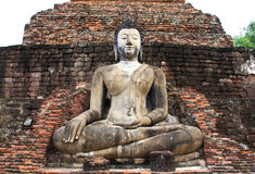 Ancient buddha statue. Sukhothai historical park. Royalty Free Stock Image
