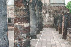 Ancient buddha statue, Sukhothai Historical Park. Ancient Pillars, Sukhothai Historical Park, Thailand Stock Images