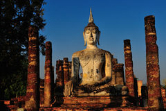 Ancient buddha statue. Sukhothai Historical Park, Royalty Free Stock Photography