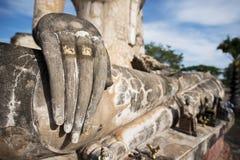 Ancient Buddha statue at Sukhothai historical park, Thailand. Royalty Free Stock Photography