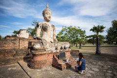 Ancient Buddha statue at Sukhothai historical park, Thailand. Stock Image