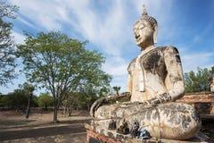 Ancient Buddha statue at Sukhothai historical park, Thailand. Stock Photo