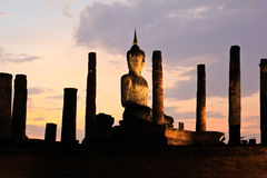 Ancient buddha statue at twilight Royalty Free Stock Images