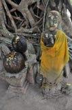 Ancient buddha statue at Wat Bang Kung in Samut Songkhram Stock Image