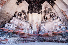 Ancient Buddha statue at Wat Chai Wattanaram temple, Ayutthaya, Royalty Free Stock Images