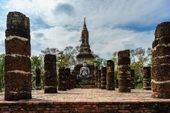 Ancient Buddha Statue  world heritage site Sukhothai historical Stock Photography