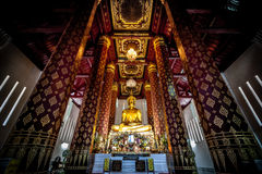 An ancient Buddha Statue in Wat Nah Phramen Chapel Buddhist temp Stock Photo