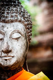 Ancient Buddha statue at Wat Yai Chai Mongkol Temple, Ayutthaya, Royalty Free Stock Photography