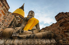 Ancient Buddha Statue at Wat yai chaimongkhon, Ayutthaya,Thailand. royalty free stock photos