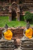 Ancient Buddha statue at Wat Yai Chaimongkol, Ayutthaya. Wat Yai Chaimongkol  in ayutthaya province Thailand Stock Images