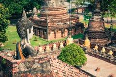 Ancient Buddha statue at Wat Yai Chaimongkol in the historical c Stock Image