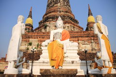 Ancient Buddha statue at Wat Yai Chaimongkol Royalty Free Stock Photography