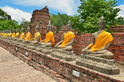 Ancient buddha statues with blue sky Royalty Free Stock Photos