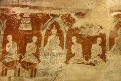 Ancient Buddha story paint in Thai Temple wall Royalty Free Stock Image