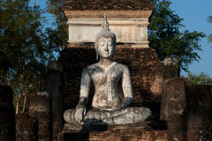 Ancient Buddha in Sukhothai temple . Royalty Free Stock Photos