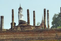 Ancient Buddha and temple ruins Stock Photography