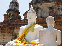 Ancient Buddha at Wat Yai Chai Mongkhon of Ayuthaya, Thailand.  Royalty Free Stock Photo