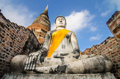 Ancient Buddha in Wat Yai Chaimongkol, Ayutthaya, Thailand Stock Photos