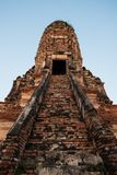 Ancient buddhism wat or temple in Thailand. Vertical orientation Royalty Free Stock Image