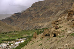 Ancient Buddhist Caves in the High-Altitude Mountain Desert Stock Photos
