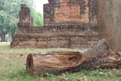 Ancient Buddhist Church with timber. Stock Image