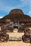 Ancient Buddhist dagoba on Sri Lanka Stock Photo