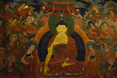 Ancient buddhist fresco at the wall of tibetan monastery, Hemis Stock Images