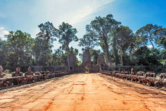 Ancient buddhist khmer temple in Angkor Wat comple Royalty Free Stock Images