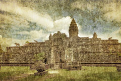 Ancient buddhist khmer temple in retro style Stock Photography