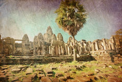 Ancient buddhist khmer temple in retro style Royalty Free Stock Photography